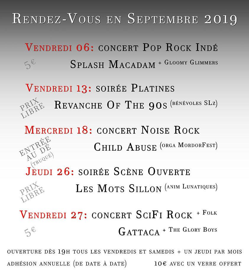 Programmation du café culturel associatif Sillon Lauzé pour Septembre 2019