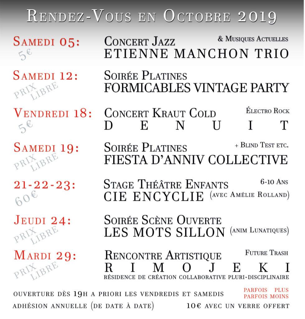 Programmation du café culturel associatif Sillon Lauzé pour Octobre 2019
