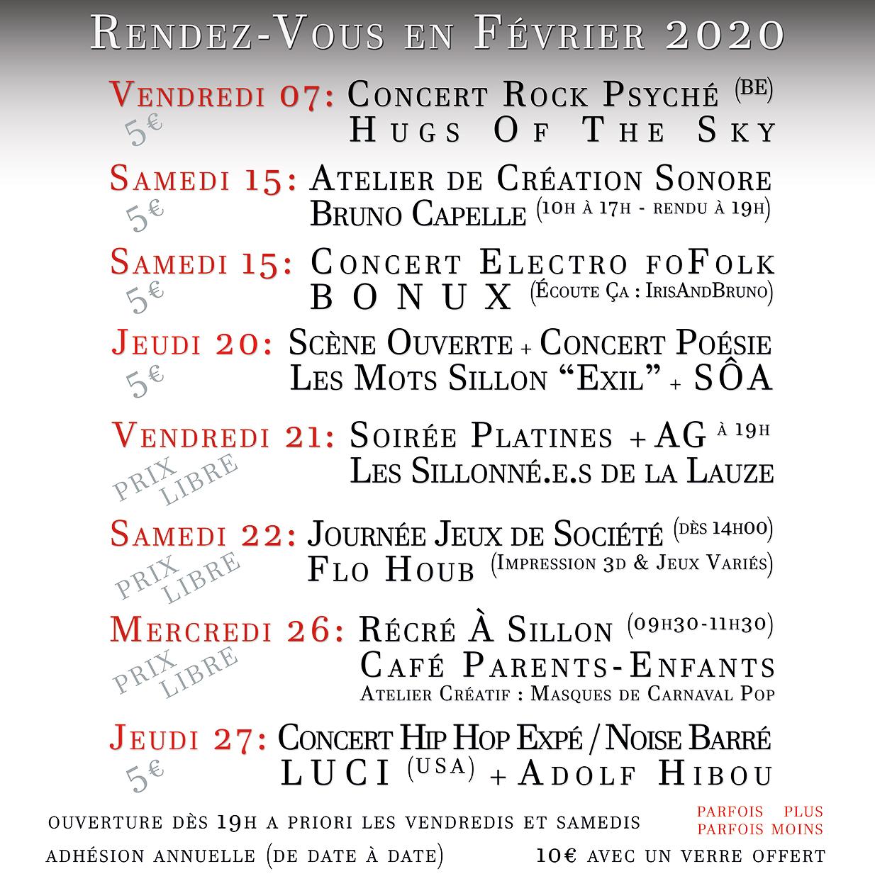 La programmation du mois de Février 2020 au Sillon Lauzé