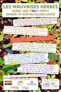 Les Mauvaises Herbes samedi 19 juin au Sillon Lauzé avec le Planning Familial - Rural LGBTQIF+ Party